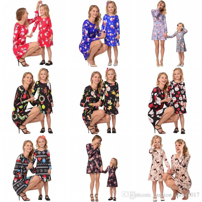Family Matching Christmas Dress Outfits Mother And Daughter Clothes Long Sleeve Snowmen Snowflake Mom And Me Xmas Santa Claus Dresses