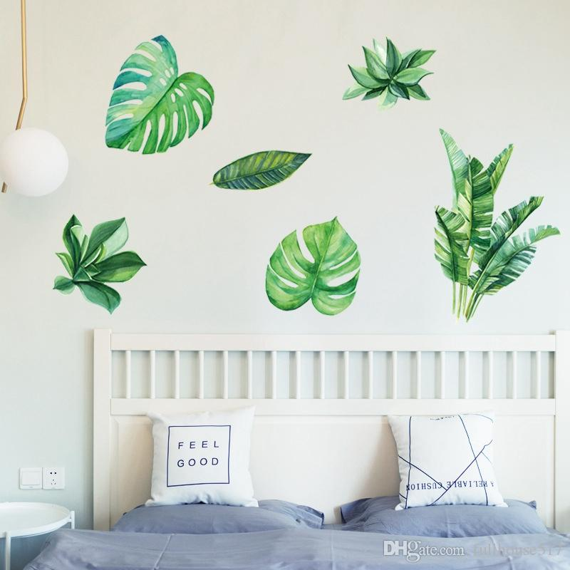 Removable 3d Nordic Green Plants Fresh Leaves Wall Decals Nursery Decor Leaf Wall Stickers Diy Wall Art Decor Decoration Sticker For Home Unique Wall