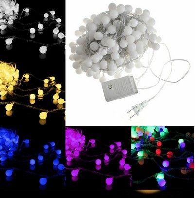 10M 100LED ماتي الكرة الدافئة الأبيض الصمام سلسلة حفل زفاف الجنية ضوء عيد الميلاد