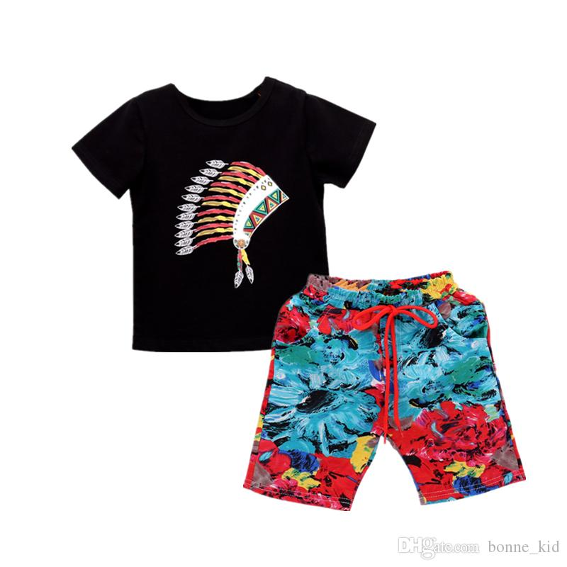 Summer New Baby Boys Clothing Set T-shirt + Multicolors Shorts Two-piece set Boy Clothes Outfit Casual Children Suit 0-3Y for baby Boutique