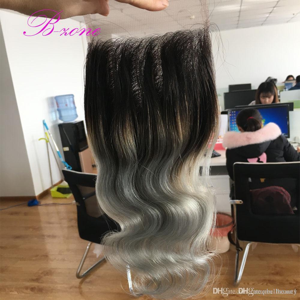7A quality dark roots silver grey Peruvian hair closure 4x4 ombre closure T1b/grey two tone body wave closure