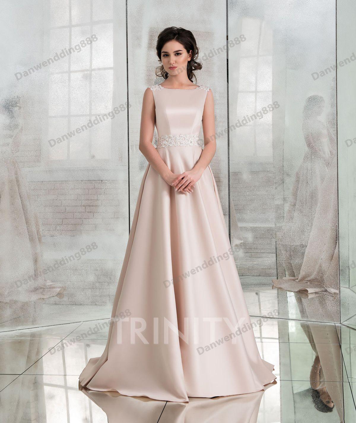 Beauty Champagne Scoop Satin Applique Beads A-Line Wedding Dresses Bridal Pageant Dresses Wedding Attire Dresses Custom Size 2-16 ZW712164