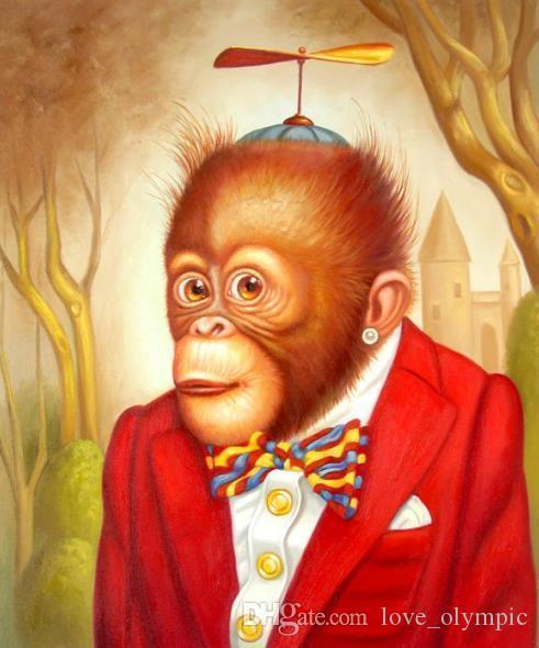 """Lotes al por mayor """"Mono encantador"""", auténtica decoración de pared pintada a mano Animal Art pintura al óleo sobre lienzo Varios tamaños disponibles, Rsh097 #"""