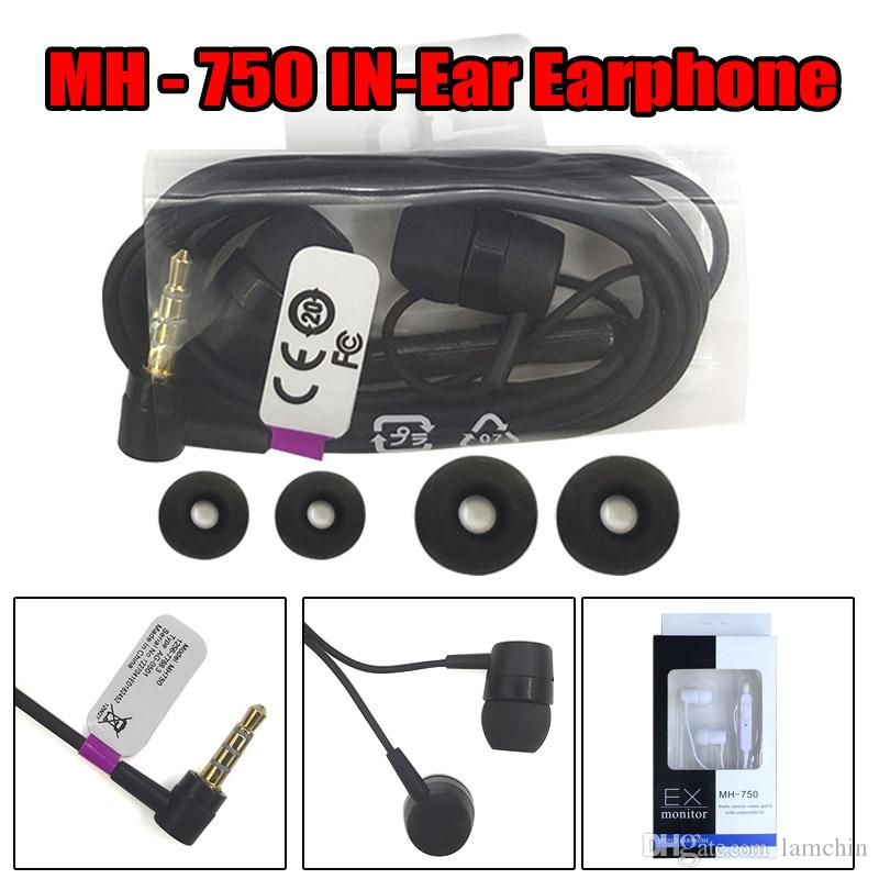 MH750 Earphons 3.5mm In-ear Wired Earbuds with Mic Volume Control for Sony HTC Samsung with Retail Package