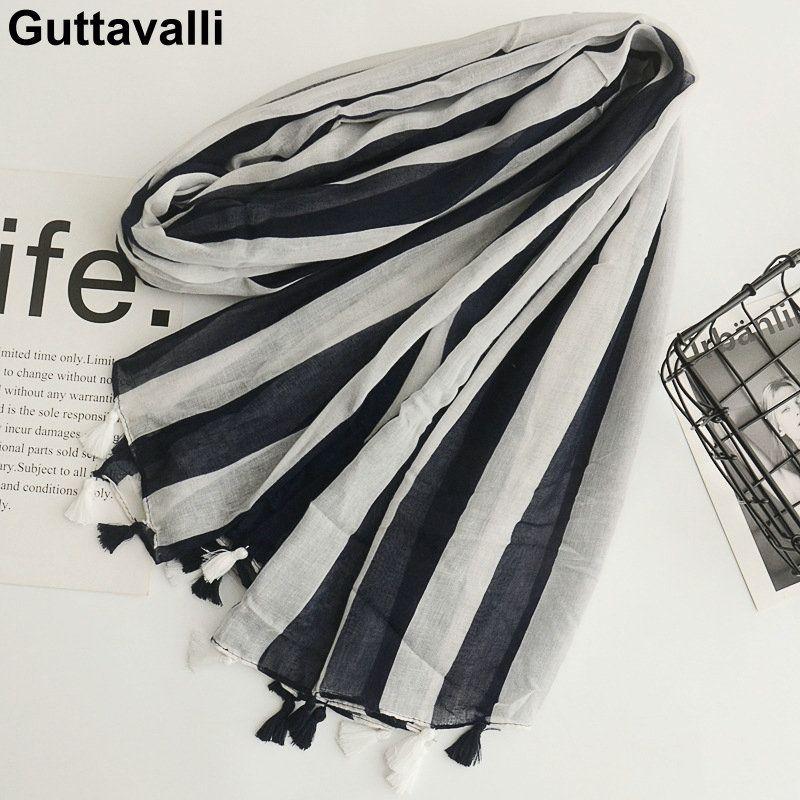 Guttavalli Women Striped Lines Cotton Tassels Long Shawl Female Soft Black White Geometric Wraps Chevron Sunscreen Soft Scarves