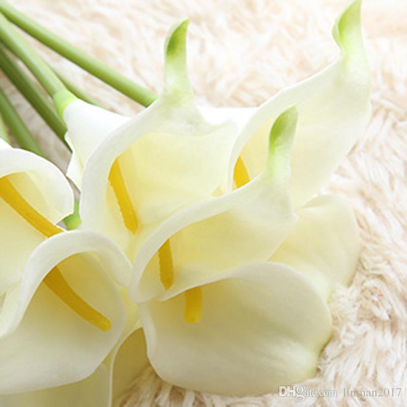 زهور اصطناعية رخيصة اللاتكس كالا الزنبق للديكور المنزل حفل زفاف لوازم الزفاف باقة زهور اصطناعية