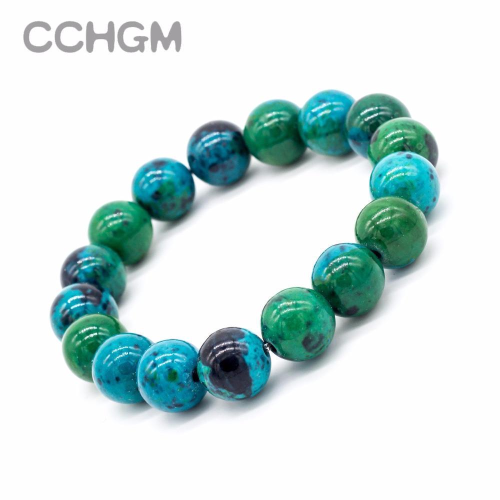 2017 Natural Crisocola Malaquita cuentas de piedra pulseras para las mujeres con cuentas redondas de joyas pulsera con colgante de joyería de la vendimia