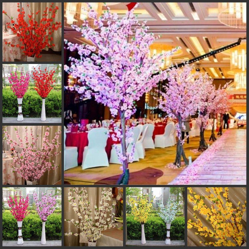 160 шт. Искусственная вишня пружина сливы персик цветущий ветвь шелковый цветок дерево для свадьбы украшения белый красный желтый розовый 5 цвет