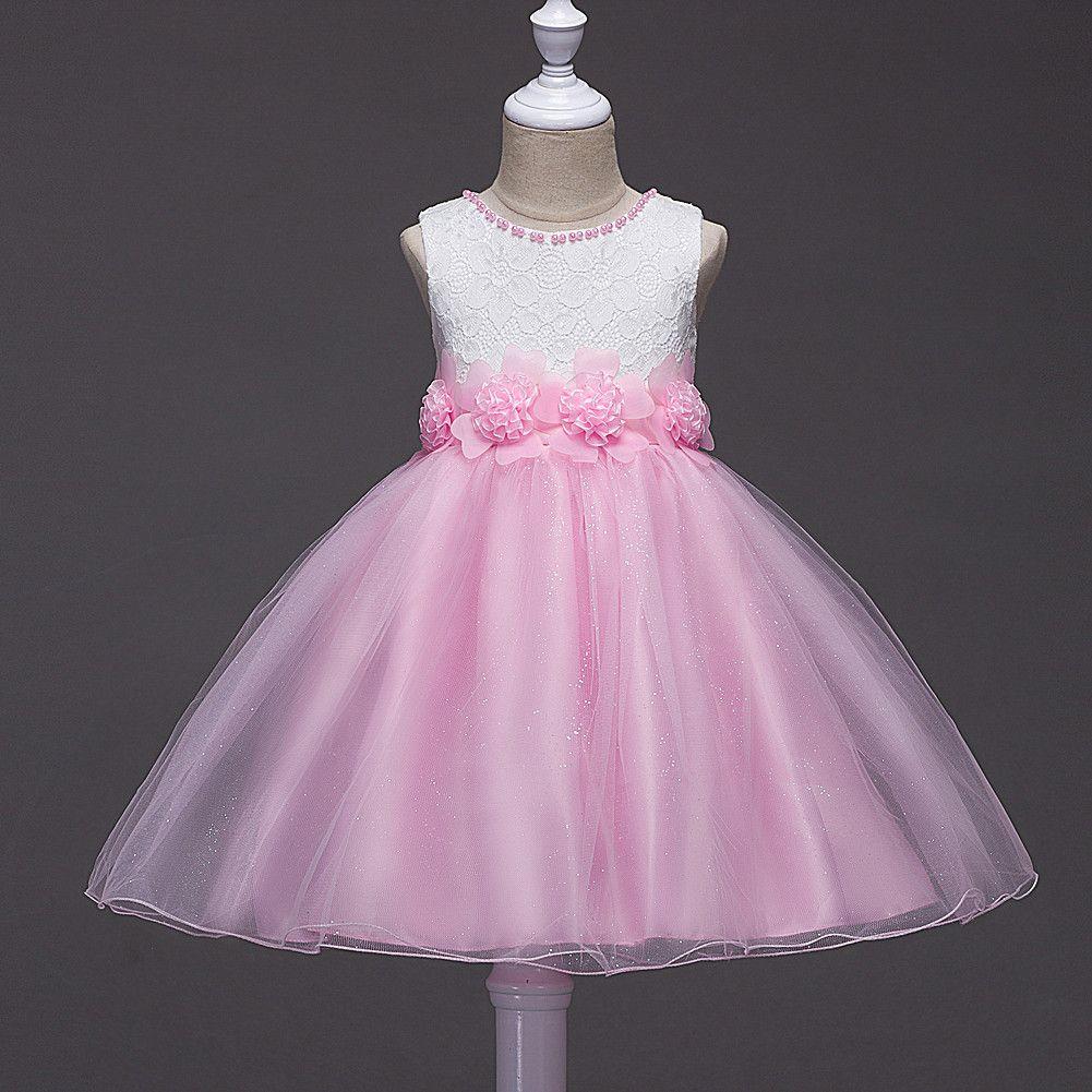 Großhandel Designer Mädchen Party Kleider Bogen Glitzernden Baby Mädchen  Kleider Ballkleider Kinder Kleidung Spitze Floral Ärmellose Hochzeit