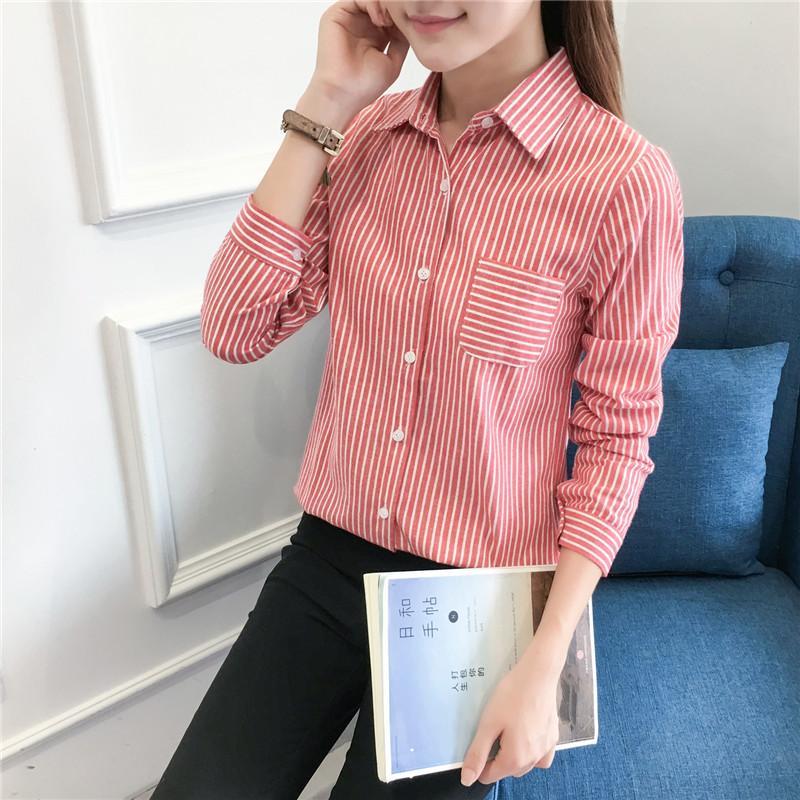 Femmes Shirt 2017 Nouveau Coton Casual Manches Longues À Rayures Chemises Femmes Blouses Excellente Qualité Blusas Plus La Taille Des Vêtements Pour Femmes