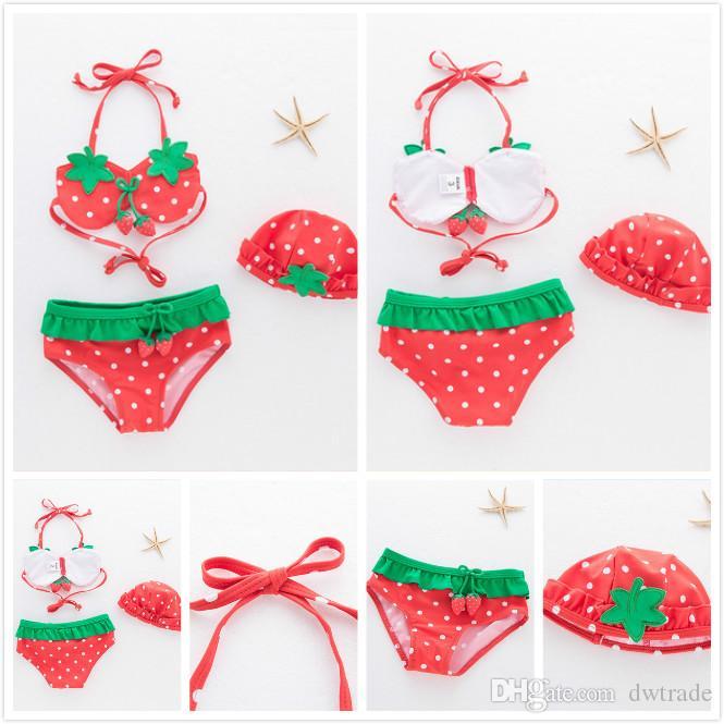 Cute Girls Strawberry Lace-up Halter Hanging Neck Split Swimsuits with Hat 3 Sets Bikini Spa Swimsuit Fresh Sling Swimwear