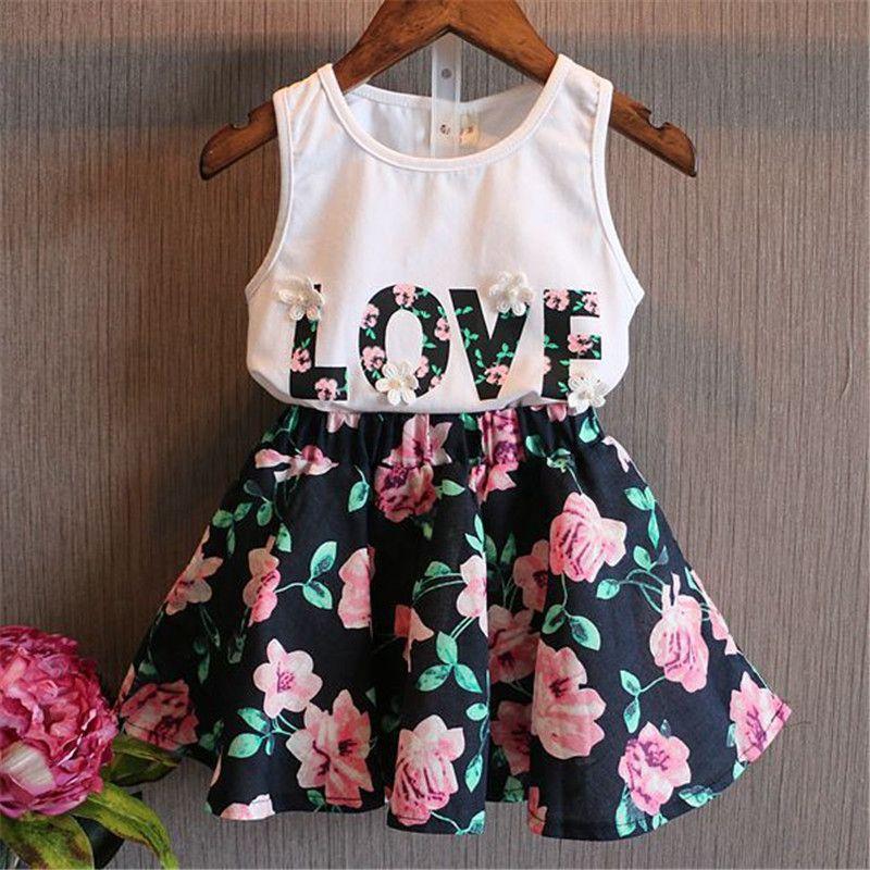 여름 여자 옷 2PCS 아이 여자 아기 여자 유아 셔츠 탱크 탑과 치마 복장 세트 복장 옷