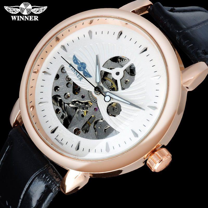 TWINNER marque de mode hommes montres mécaniques bracelet en cuir casual chaud hommes squelette montres hommes horloge mâle reloj hombre
