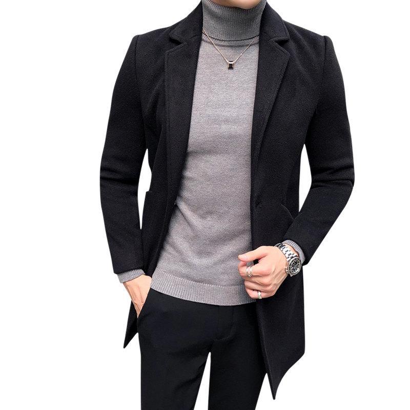 neueste kaufen hoch gelobt Neu werden Großhandel Hohe Qualität 2018 Winter Schwarz Herren Mantel Single Button  Koreanischen Stil Slim Fit Wollmischungen Trenchcoat Männer Casual Lange ...