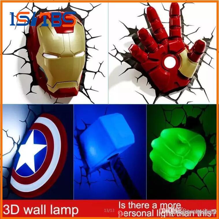 Marvel avengers LED chambre à coucher salon chambre 3D lampe murale créative décorée avec lumières nuit lumière