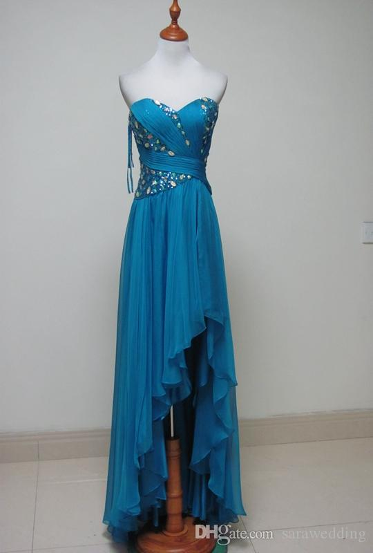 c5ad40f963fd Chiffon High Low Prom Dresses with Beads Sequins New Sweetheart Long Party  Dresses Short Front Long ...