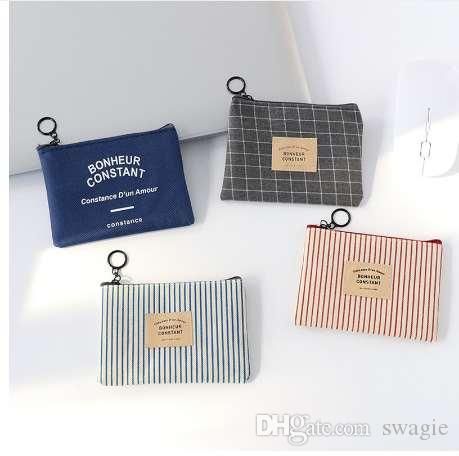 1 PZ Unisex Canvas Purse Card Key Mini Borsa Borsa di tela Piccola cerniera portamonete Titolare della carta Portafoglio Quattro colori disponibili