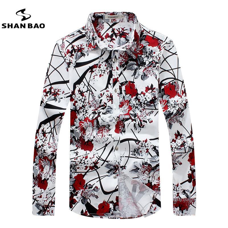 Wholesale-SHAN BAO  clothing romantic floral shirt men autumn high quality comfortable cotton printing casual long-sleeved shirt