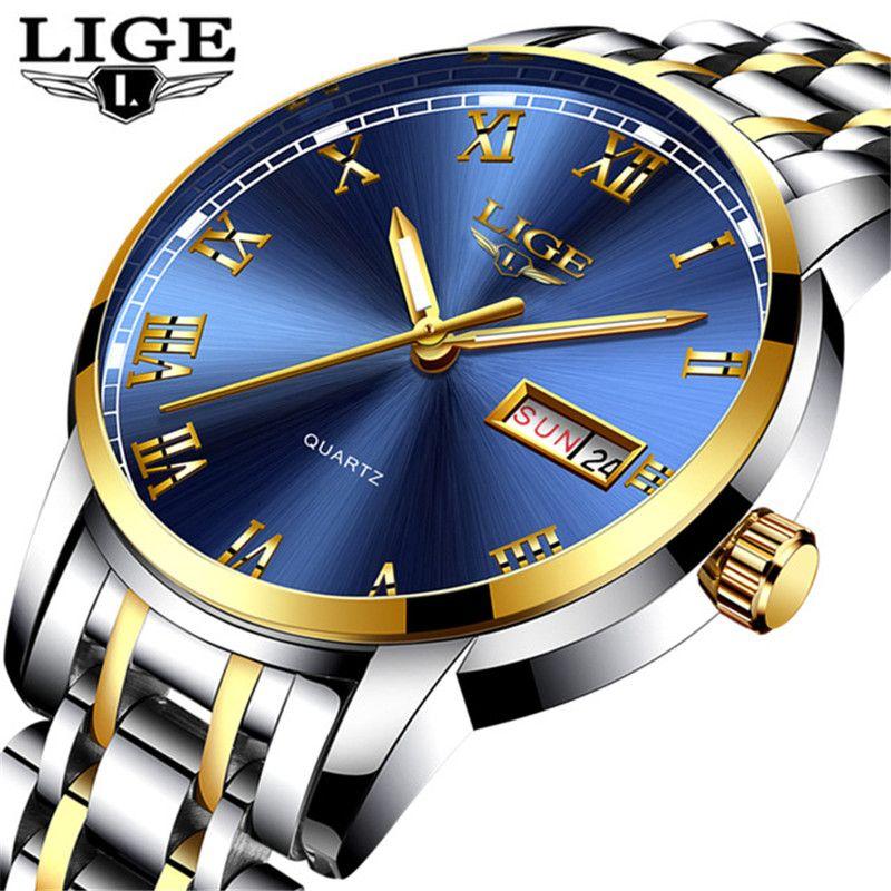도매 패션 캐주얼 비즈니스 시계 남자의 달력 시계 남자의 모든 스테인레스 스틸 방수 스포츠 석영 시계 Relogios + BOX
