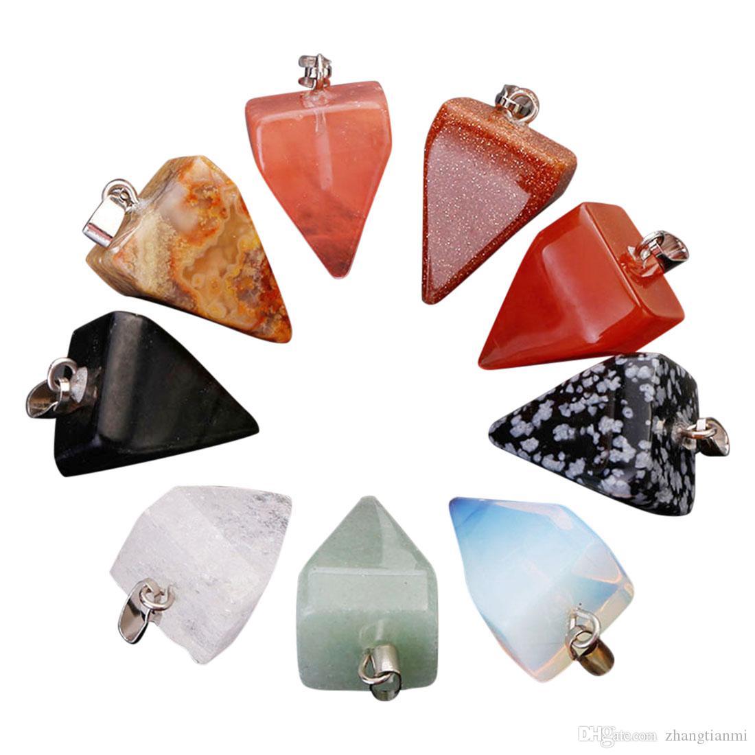 Hot Natural Charms Pirámide de agua Castaña forma Colgante de Cristal Natural de Ágata de Cuarzo Joyas de piedra para la joyería que hace el envío libre