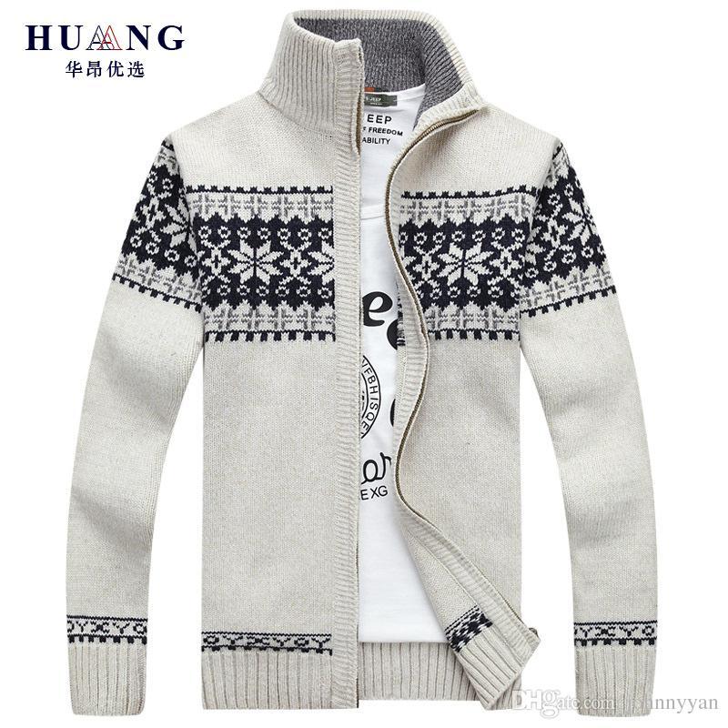 Großhandel AFS JEEP 2018 Winter Pullover Herren Strickjacke Dicke Warme Druck Lässige Mode Herren Pullover Herren Casual Cardigan Plus Größe 3XL Pull