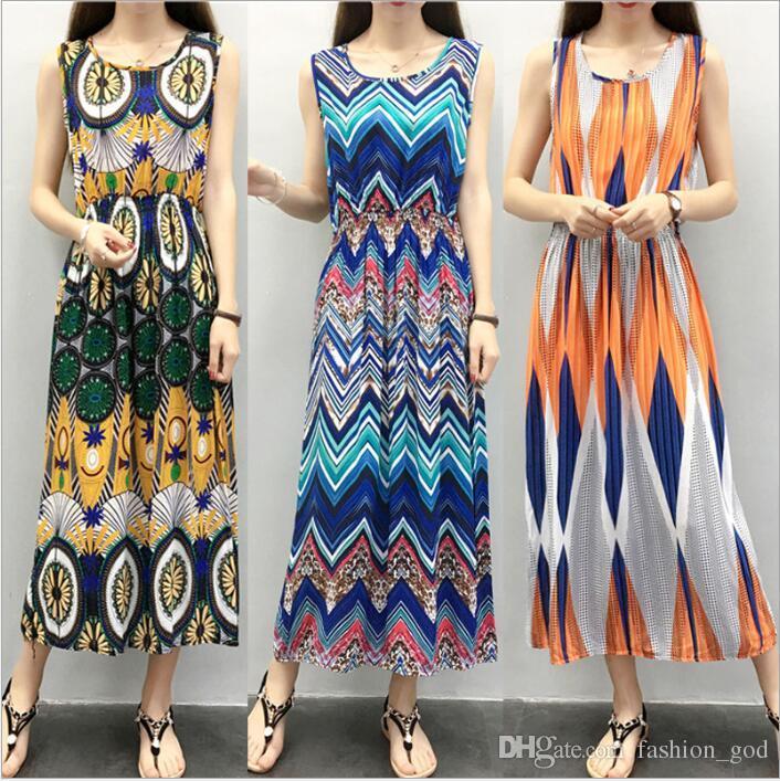 Kleider Frauen Sommer Plus Size Sommerkleid Floral Beach Dress Print Langes Kleid Mode Casual Dress Blumen Sleeveless Kleider Bekleidung B4038