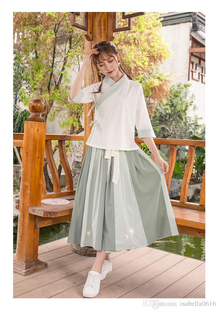 2018 traje de hadas chino del verano para las mujeres bordado dinastía Tang traje de baile de la etapa princesa Hanfu vestido de vestidos de Cosplay