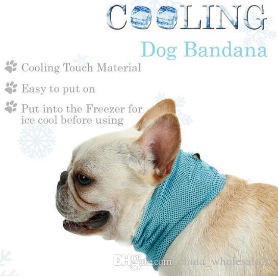 Free shipping Instant Cooling Pet Bandana Dog Scarf Bulldog Summer Cooling Towel Wrap Dog cooler Collar