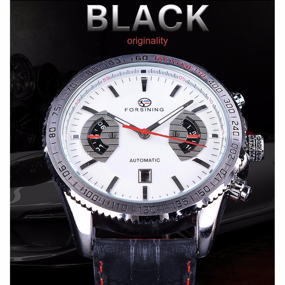 Forsining Black Genuine Leather Men's Watches Calendar Week Month Display Luxury Mechanical Wristwatch Male Clock Silver Case