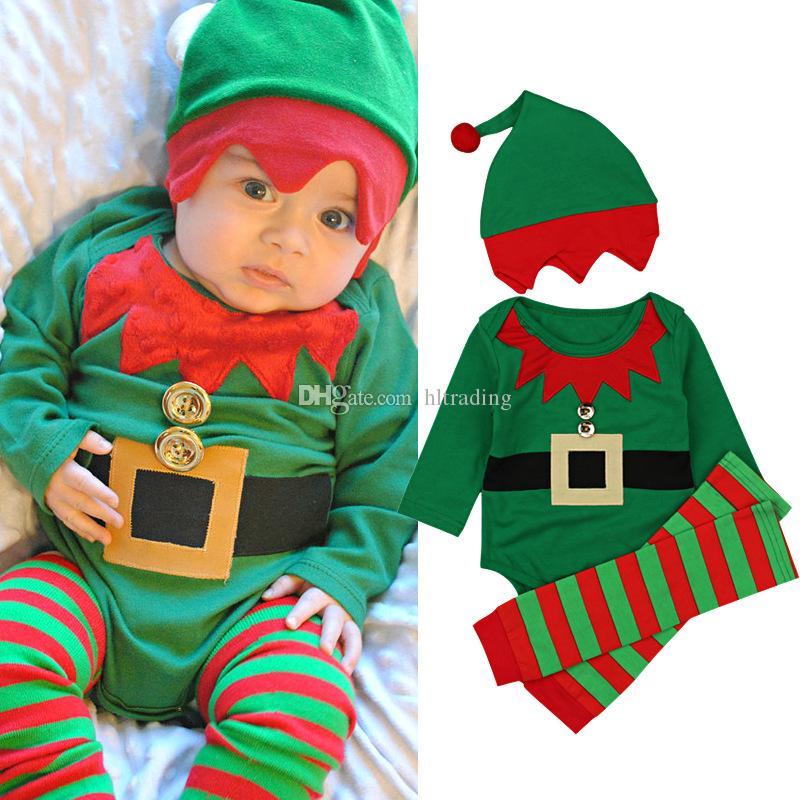 Christmas Baby Clothing Sets Children Santa Caus Jumpsuits + Santa Hat + Striped Calf Sleeves 4pcs/sets Kids Xmas Rompers Climbing suit M259