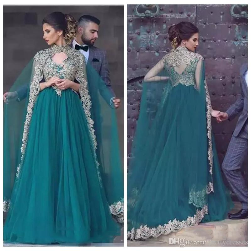 2019 Moroccan Kaftan Arabic V-Neck Prom Dresses With Wrap Maxi Indian Gold Lace Appliques Beaded Formal Evening Party Gowns Customized