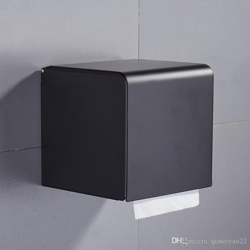 Black Paper Tissue Box Bathroom Paper Roll Holder Wall Mounted Toilet Paper Rack Bathroom Accessories Tissue Holder Box