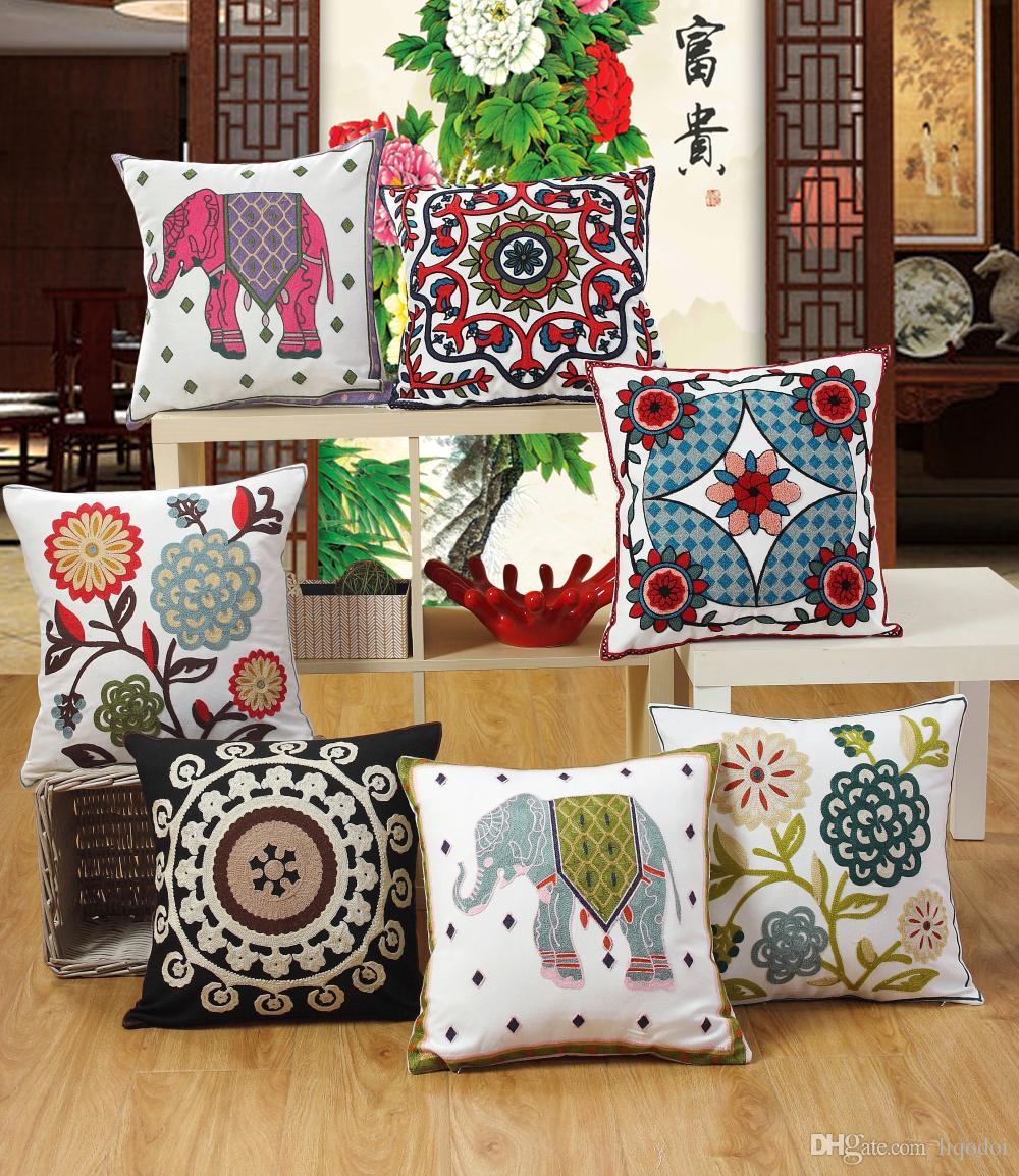 100% coton décor jet taie d'oreiller 45 * 45 cm luxe broderie fleur housse de coussin maison canapé coussin oreiller décor