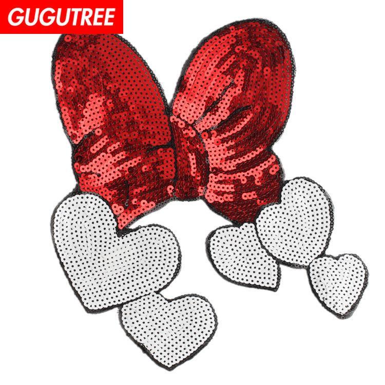 GUGUTREE bordado paillette gran bowknot parches lentejuelas amor corazón parches insignias parches apliques para ropa