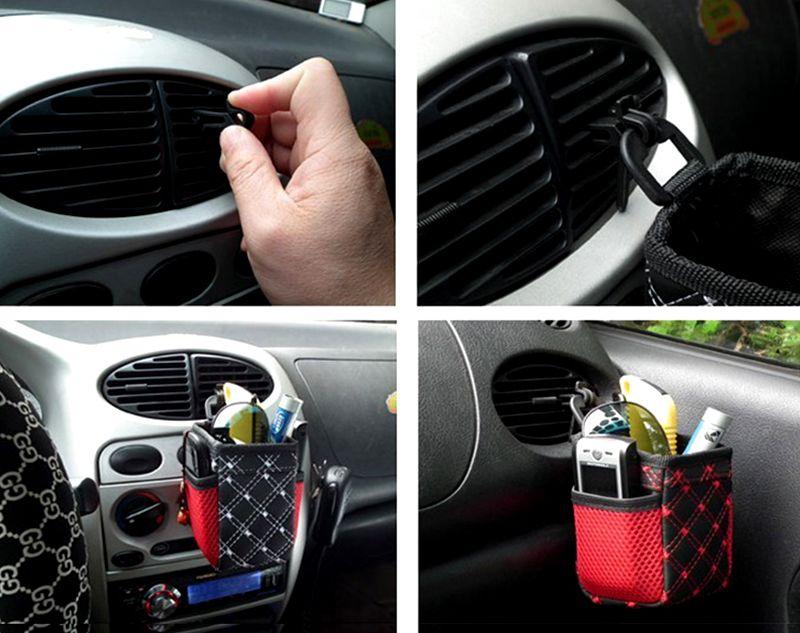 Car Air Vent Outlet Torba do przechowywania Pióro Bilety na kartę Phone Holder Container Red Grid Siatka Pocket Car Organizator Stujący Auto Akcesoria