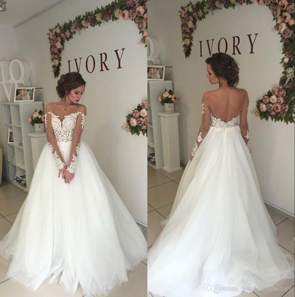 9ace8371748 2018 Elegant Sheer Long Sleeves Tulle A Line Wedding Dresses Mesh Top Lace  Applique Backless Sweep Train Bridal Wedding Gowns BA9085
