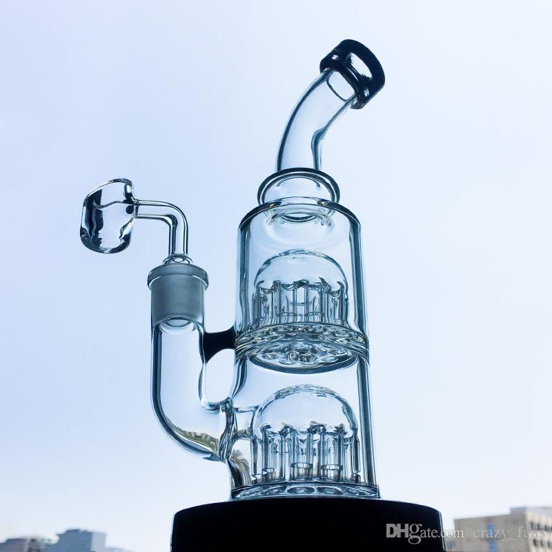Double 12 Arme Baum Percolator Glas Bongs Mini Wasserrohr 14mm Female Joint Dab Bohrinseln Bubbler Wasserrohre mit Schüssel oder Banger