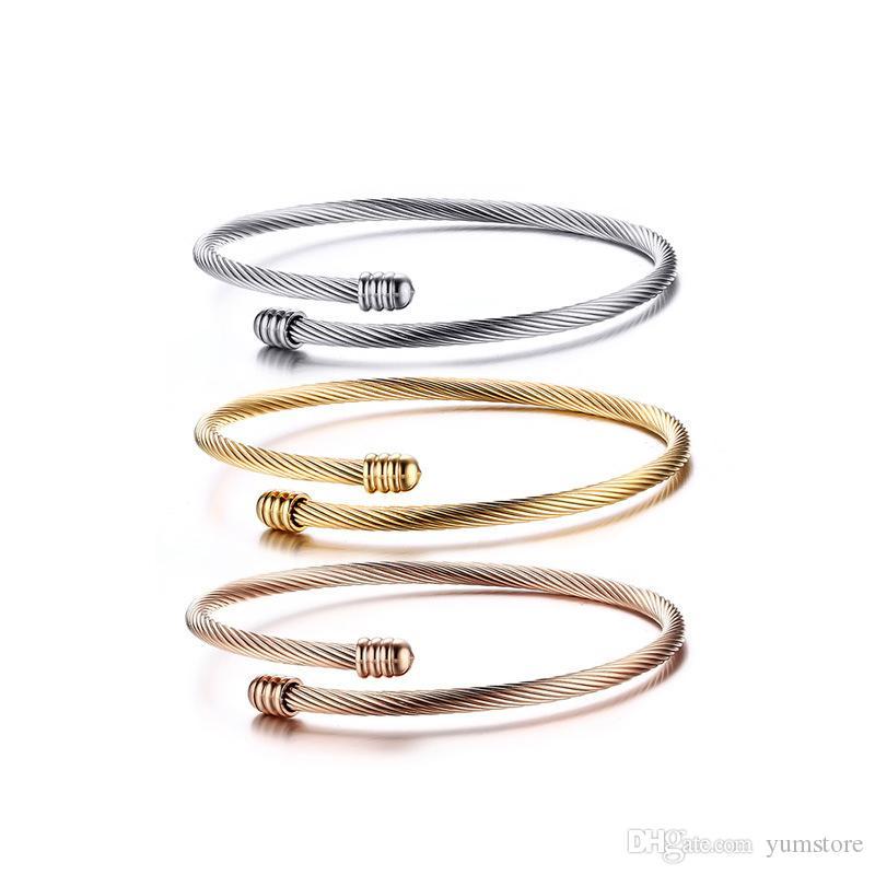 La mode 316L Bracelet En Acier Inoxydable Bracelet De Manchette Bracelet En Or Rose Plaqué De Manchette Plaqué Pour Les Femmes