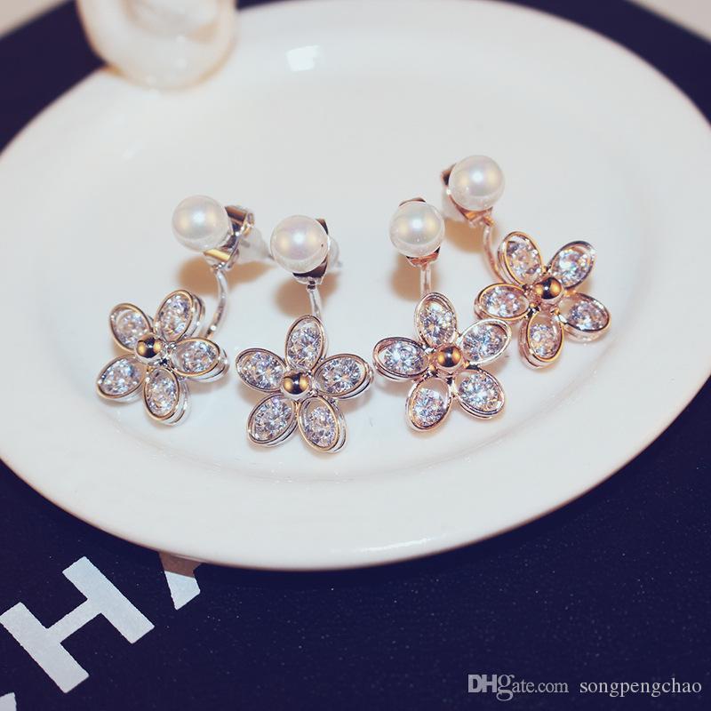 2018 squisito color oro orecchini fiore zirconi appesi perla placcato oro 18 carati orecchini moda casual orecchini gioielli femminile