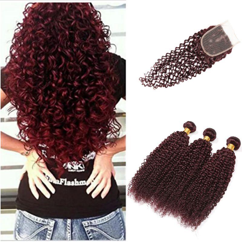 Burgundy Virgin Brazilian Human Hair Weaving 3Pcs kinky Curly with Closure Wine Red Hair Weave Kinky Curl Hair Bundle Deep Wave With Closure
