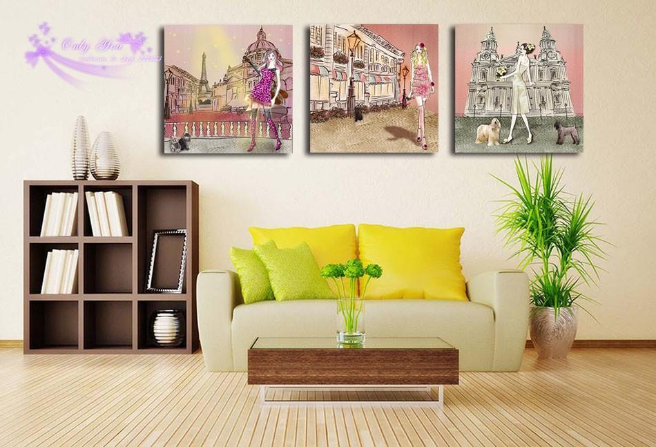 Холст Живопись стены искусства модульные фотографии комикс мультфильм красивая девушка Собака здание настенные рисунки для гостиной без рамы