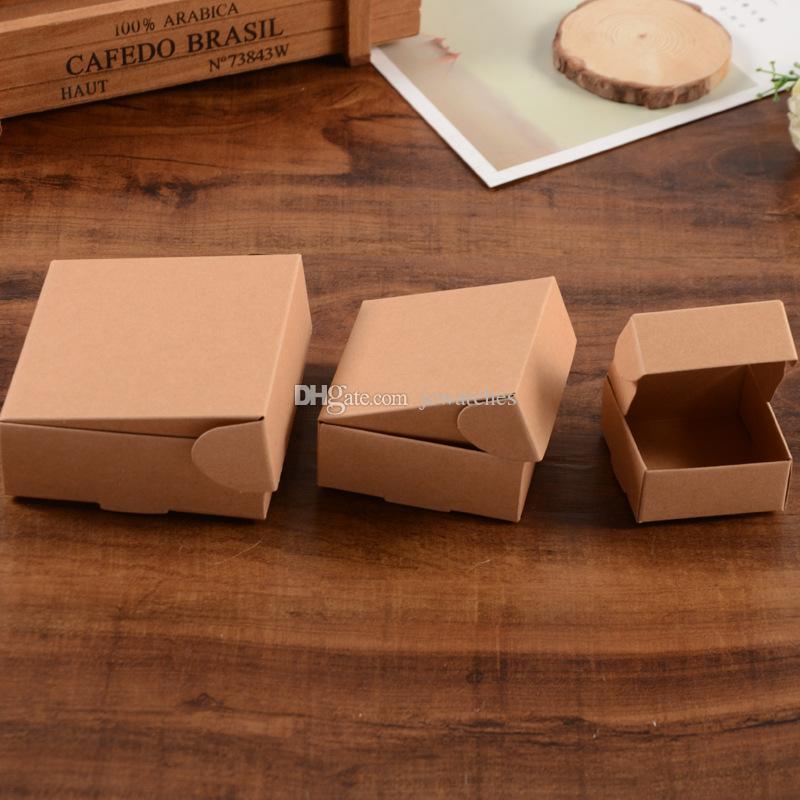 3 Größe Kleiner Brown Kraft Paper Kasten Kartonverpackungskästen für Geschenk Hochzeit Gunsten Verpackung Soap Backen akes Plätzchen Schokolade Verpackungs-Kasten