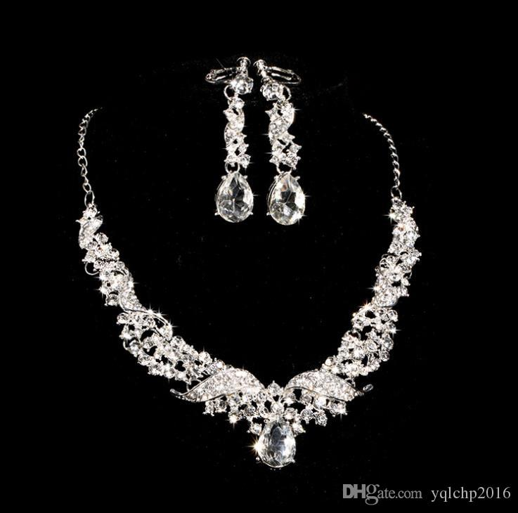 Bridal alloy diamond necklace earrings two knot wedding accessories accessories set