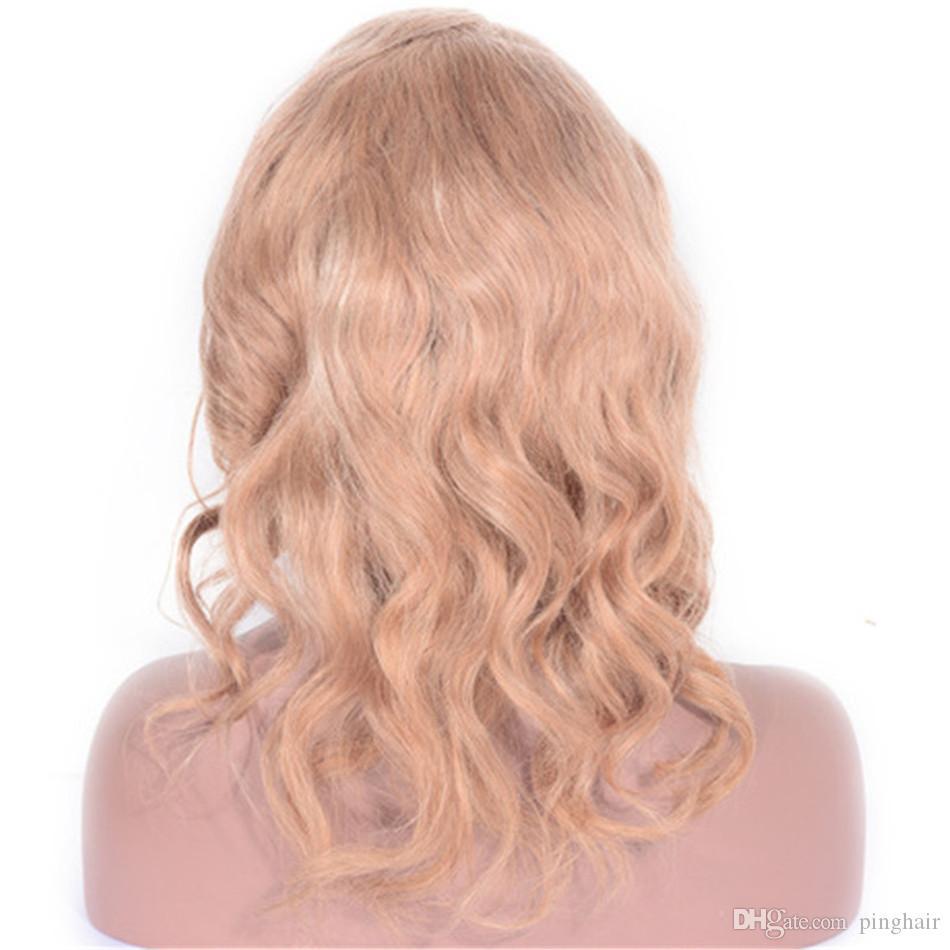 Pelo malasio de la onda del cuerpo humano pelucas llenas del cordón 130% de densidad 27 # pelucas del frente del cordón sin cola para la Mujer