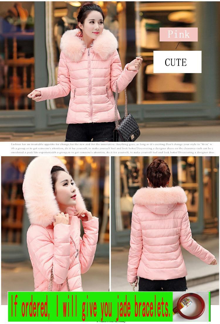 Cotton short sleeve garment women short sleeve slim jacket winter coat Korea edition big wool collar winter coat special deal with show thin