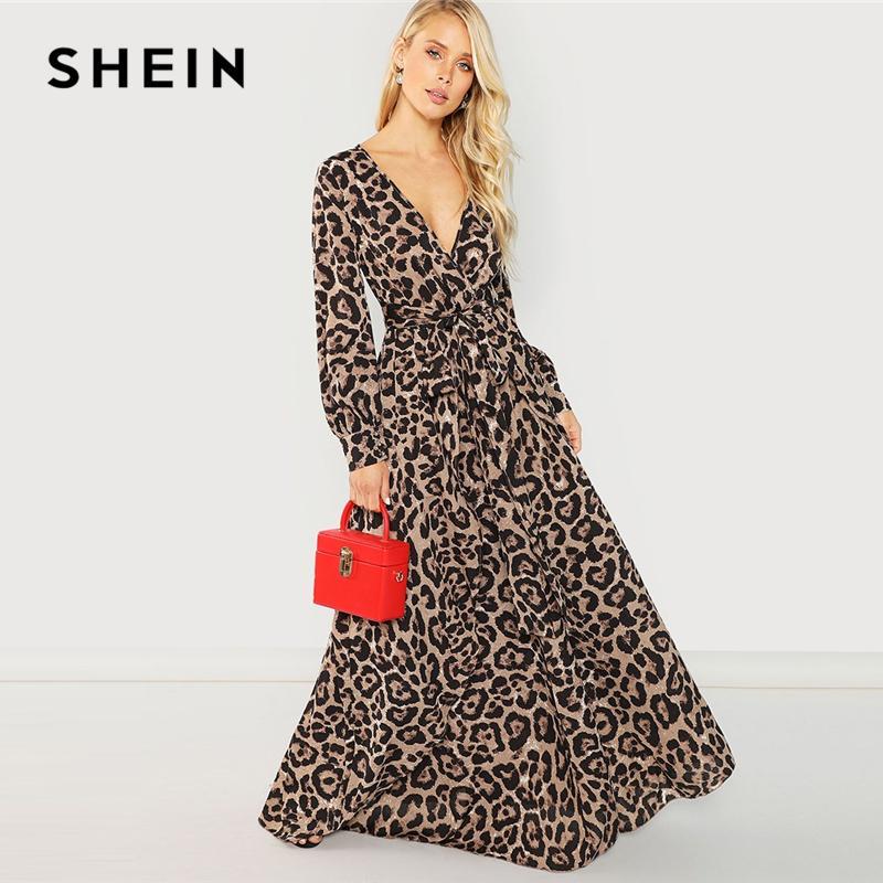 SHEIN Multicolor Party Sexy ciondolo collo stampa leopardata sovrapposizione manica lunga abito 2018 autunno streetwear donna abiti maxi