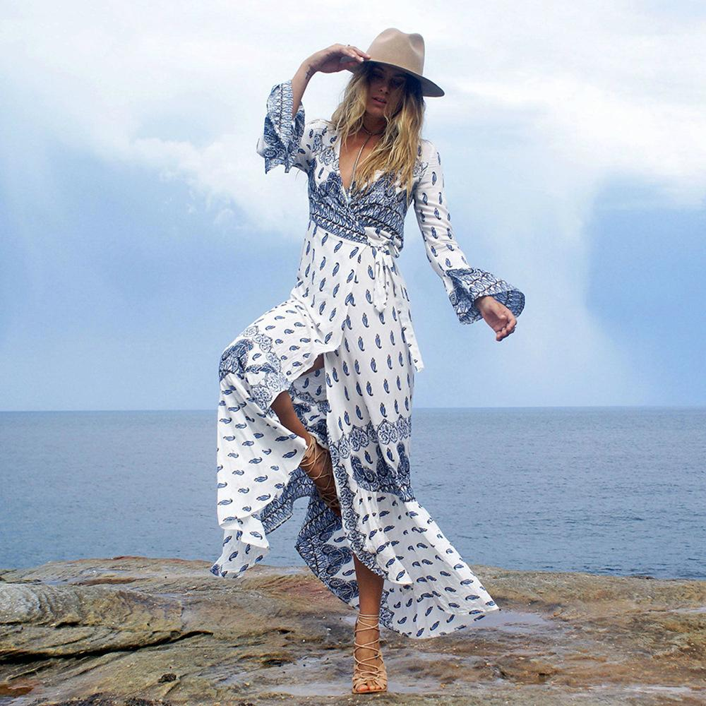 2018 Yeni Moda Seksi Casual Kollu Elbiseler Bayan Yaz Akşam Parti Plaj Elbise Uzun Bohemian Elbiseler V Yaka Baskılı Çiçekler Etek