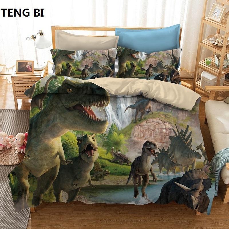 New fashion creative style home textile digital printing dinosaur pattern bedding set Europe and America size 3 pcs bedding