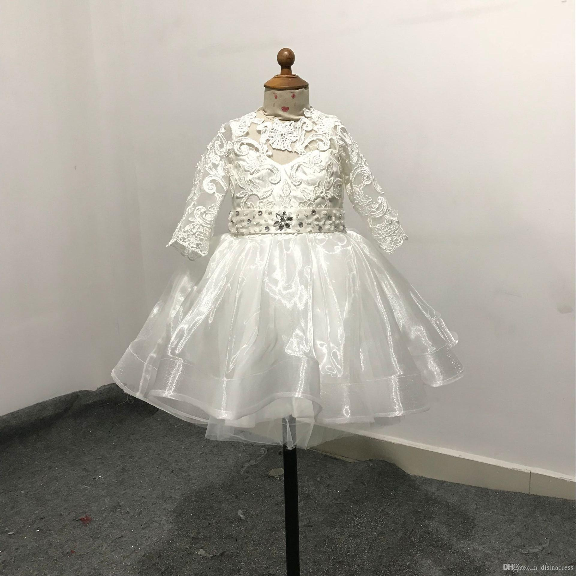 Real Picture Short Crystal Lace Flower Girl Dresses First Communion Dress For Little Girl A-Line Kid Birthday Party Dress Pageant Gown