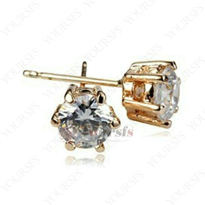 Yoursfs moda jóias 18k banhado a ouro seis prong zircon garanhão brincos mulheres aniversário presente de aniversário